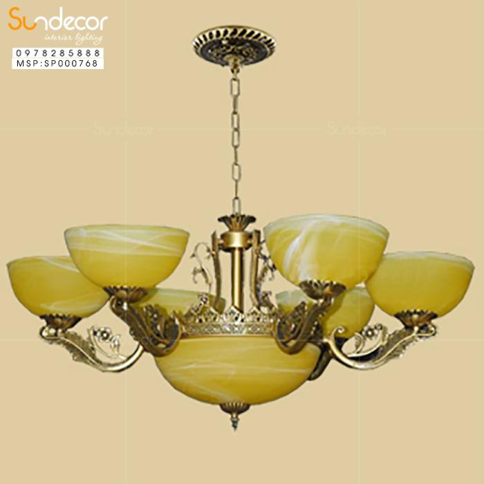 Đèn Chùm Đồng Bát Đá SP000768