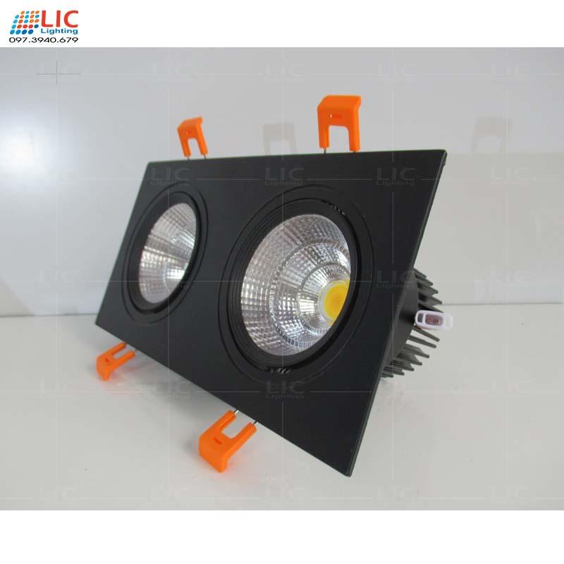 Đèn Downlight Đôi Đen 2*7W/12W (D120x230)