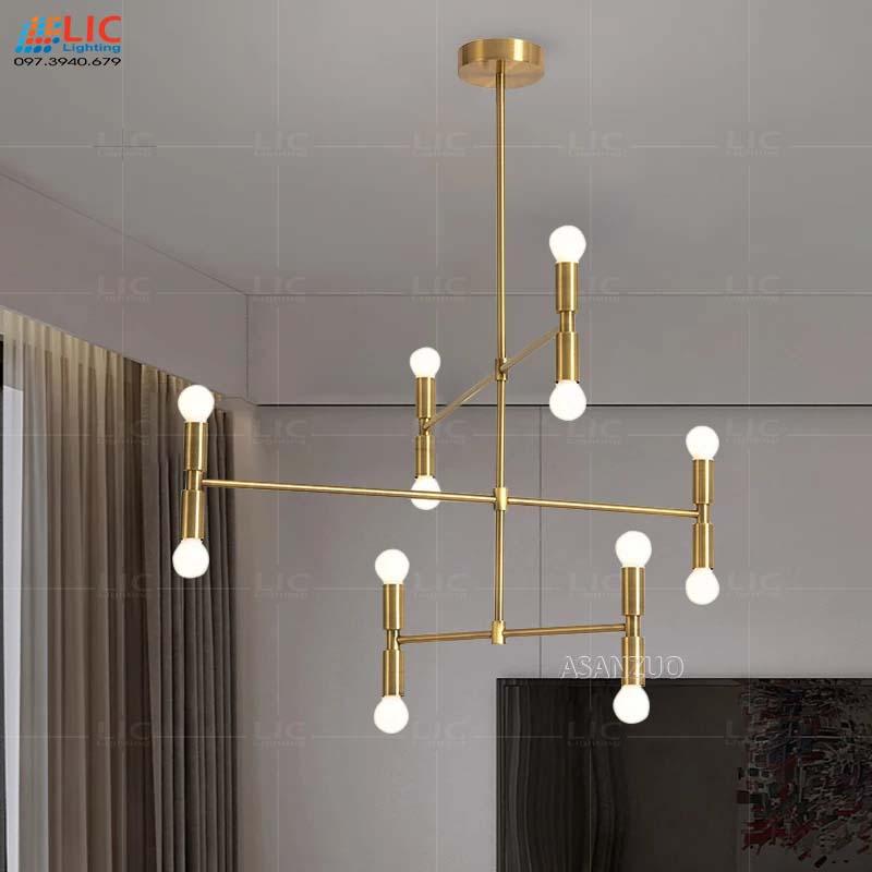 Đèn Trần Đơn Giản TH362 Thân Vàng 12 Bóng Lic