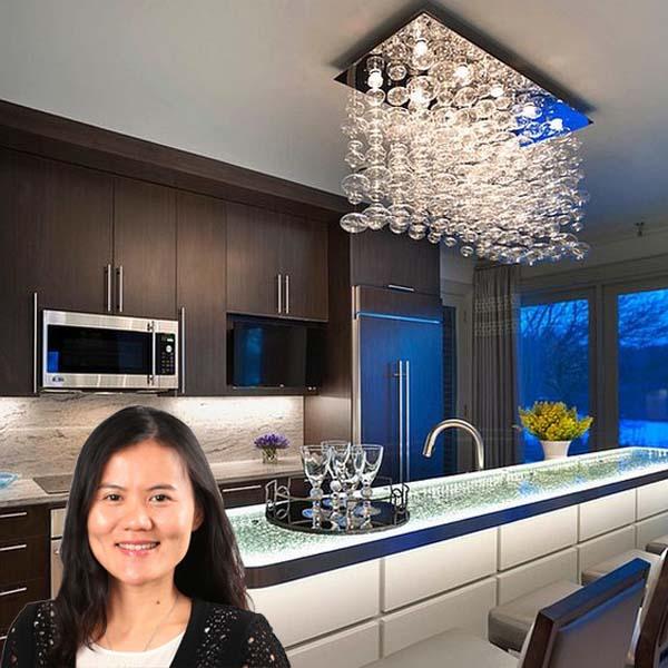 Lắp đặt bộ đèn Pha Lê cho Căn Bếp của chị Hương